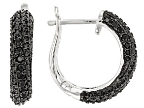 Pre-Owned Black spinel sterling silver hoop earrings 1.58ctw
