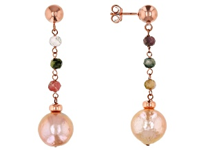 Pre-Owned 10.5-11mm Pink Cultured Freshwater Pearl & Tourmaline 18k Rose Gold Over Silver Earrings