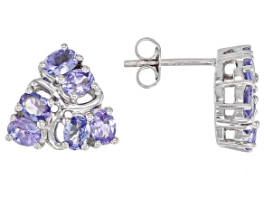 Pre-Owned Blue tanzanite rhodium over silver earrings 1.63ctw