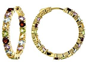 Pre-Owned Multi-gem 18k gold over silver hoop earrings 8.56ctw