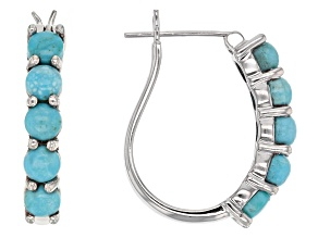 Pre-Owned Blue Sleeping Beauty Turquoise Sterling Silver Hoop Earrings