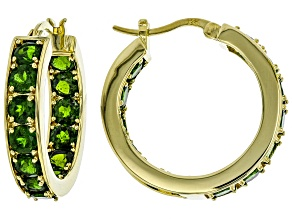 Pre-Owned Green chrome diopside 18k gold over silver earrings 7.02ctw