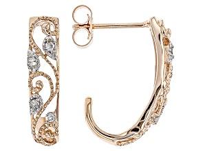 Pre-Owned White Diamond 10k Rose Gold Earrings .10ctw