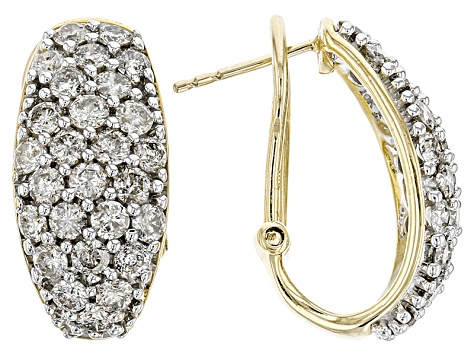 Pre Owned Diamond 10k Yellow Gold Earrings 2 50ctw
