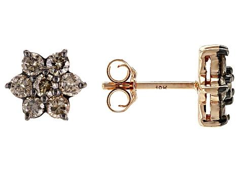 6ec8f32ba Pre-Owned Champagne Diamond 10k Rose Gold Earrings 1.00ctw - PPP1093 ...