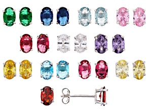Pre-Owned Multicolor Gemstone Simulants & Multicolor Cubic Zirconia Rhodium Over Silver Earrings Set