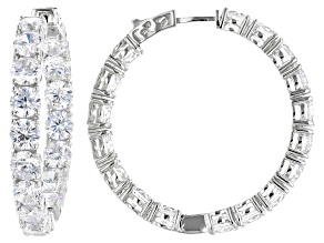 Pre-Owned White Cubic Zirconia Rhodium Over Sterling Silver Hoop Earrings 29.92CTW