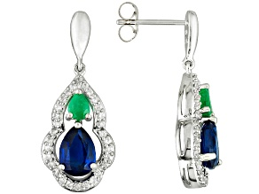 Pre-Owned Blue Kyanite, Emerald And White Zircon 10k White Gold Earrings 2.17ctw
