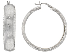 Pre-Owned Sterling Silver Textured Satin Polish Hoop Earrings.