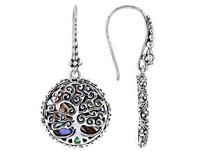 Pre-Owned Multicolor Paua Shell Silver Earrings