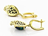 Pre-Owned Blue azurmalachite 18k gold over silver earrings .34ctw