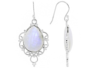 Pre-Owned White Rainbow Moonstone Sterling Silver Dangle Earrings 20x15mm