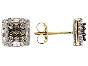 Pre-Owned Champagne And White Diamond 10k Yellow Gold Earrings .50ctw