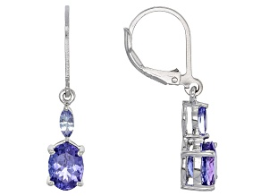 Pre-Owned Blue Tanzanite Silver Earrings 2.61ctw