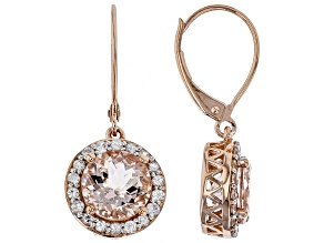 Pre-Owned Peach Cor-de-Rosa Morganite™ 10k Rose Gold Dangle Earrings 3.65ctw