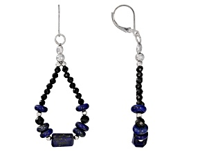 Pre-Owned Blue Lapis Lazuli rhodium over sterling silver earrings 2.29ctw
