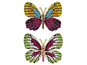 Pre-Owned Multicolor Crystal Gold Tone Butterfly Brooch Set Of 2
