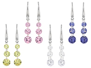 Pre-Owned Blue/White/Yellow/Pink Cubic Zirconia Rhodium Over Silver Earrings 20.15ctw