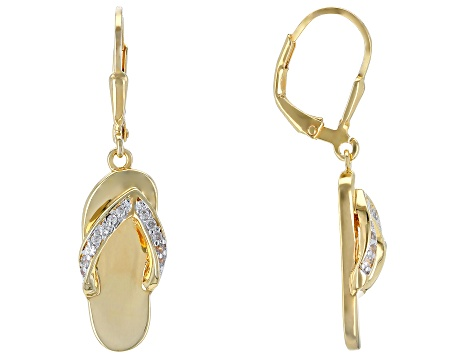 Pre-Owned White zircon 18k yellow gold over silver flip flop earrings .18ctw