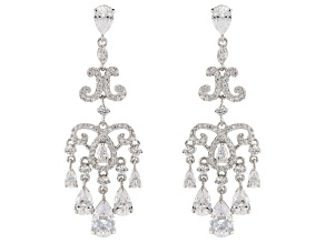 Pre-Owned White Cubic Zirconia Rhodium Over Sterling Silver Cluster Earrings 10.43ctw
