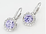 Pre-Owned Purple And White Cubic Zirconia Rhodium Over Sterling Silver Earrings 8.82CTW