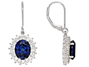 Pre-Owned Blue lab created sapphire rhodium over silver earrings 5.03ctw
