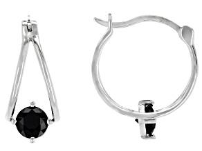 Pre-Owned Black spinel rhodium over sterling silver hoop earrings 1.09ctw