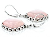 Pre-Owned Pink Opal Rhodium Over Sterling Silver Solitaire Earrings