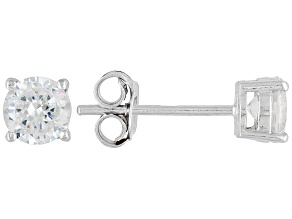 Pre-Owned Bella Luce® 1.80ctw 5mm Round Rhodium Over Sterling Silver Stud Earrings