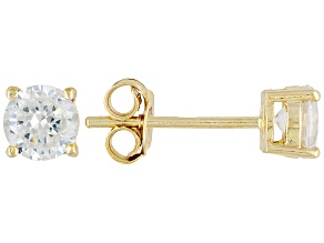 Pre-Owned Bella Luce® 1.80ctw 5mm Round 18k Yellow Gold Over Sterling Silver Stud Earrings