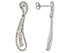 Pre-Owned Diamond Rhodium Over Sterling Silver Earrings .75ctw