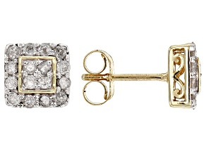 Pre-Owned White Diamond 10k Yellow Gold Earrings .50ctw