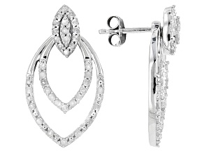 Pre-Owned White Diamond Rhodium Over Sterling Silver Earrings .62ctw