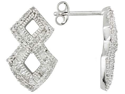 Pre Owned Rhodium Over Sterling Silver Diamond Earrings 68ctw