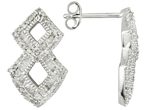 Pre-Owned Rhodium Over Sterling Silver Diamond Earrings .68ctw