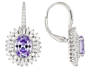 Pre-Owned Purple & White Cubic Zirconia Rhodium Over Sterling Silver Earrings 10.87ctw