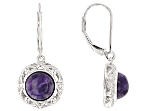 Pre-Owned Purple charoite rhodium over silver earrings