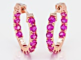 Pre-Owned Pink lab sapphire 18k rose gold over silver hoop earrings  2.86ctw