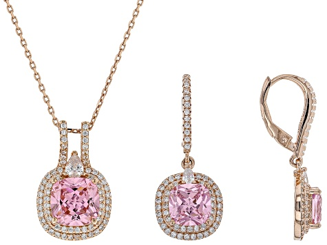Pre-Owned pink and white cubic zirconia 18k rg over sterling silver pendant with chain and earrings