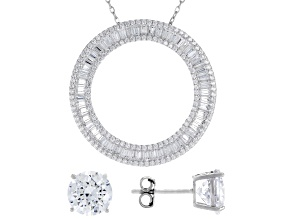 Pre-Owned White Cubic Zirconia Rhodium Over Silver Earrings & Pendant With Chain Set 11.05ctw