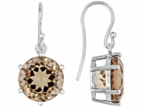 Pre-Owned Womens Solitaire Drop Earrings Yellow-Brown Quartz 12ctw Round Silver