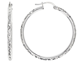 Pre-Owned Rhodium Over Sterling Silver 30MM Hammered Hoop Earrings
