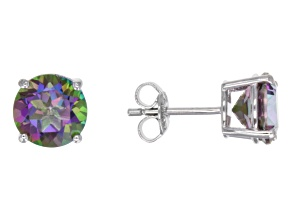 Pre-Owned Green Mystic Topaz ® Sterling Silver Stud Earrings 4.25ctw