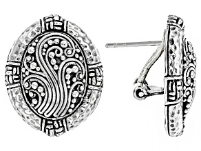 Pre-Owned Sterling Silver Filigree Button Earrings