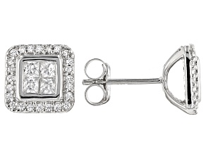Pre-Owned White Cubic Zirconia Rhodium Over Sterling Silver Earrings 1.38ctw