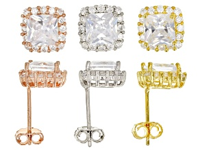 Pre-Owned White Cubic Zirconia Rhodium & 18K Yellow/Rose Gold Over Silver Earrings Set 13.40ctw