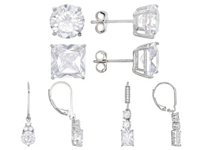 Pre-Owned White Cubic Zirconia Rhodium Over Sterling Silver Earrings 27.50ctw