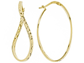 Pre-Owned 14k Yellow Gold with a Sterling Silver Core Diamond Cut Wavy Tube Hoop Earrings