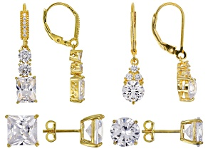 Pre-Owned White Cubic Zirconia 18k Yellow Gold Over Sterling Silver Earrings 27.50ctw