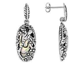 Pre-Owned Multi-Color Abalone Shell Sterling Silver Dragonfly Design Earrings
